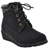 Kids Ankle Boots Lace Up Ankle Padded Wedge Comfort Shoes black