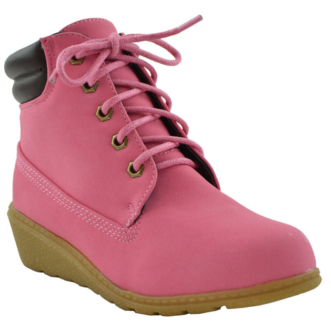 Kids Ankle Boots Lace Up Ankle Padded Wedge Comfort Shoes Pink