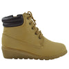 Kids Ankle Boots Lace Up Ankle Padded Wedge Comfort Shoes Tan