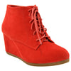 Womens Ankle Boots Lace Up Faux Suede Wedge Shoes Red
