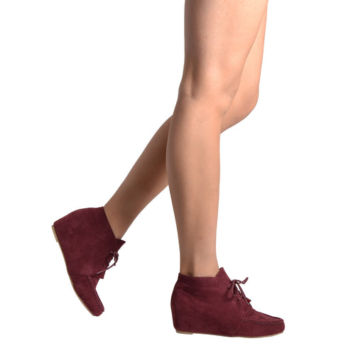 Womens Ankle Boots Lace Up Moccasin Hidden Wedge Shoes WINE