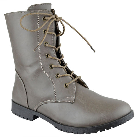 Womens Ankle Boots Lace Up Zipper Closure Motorcycle Riding Shoes Taupe