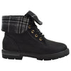 Kids Ankle Boots Fold Over Cuff Faux Leather Hiking Shoes black