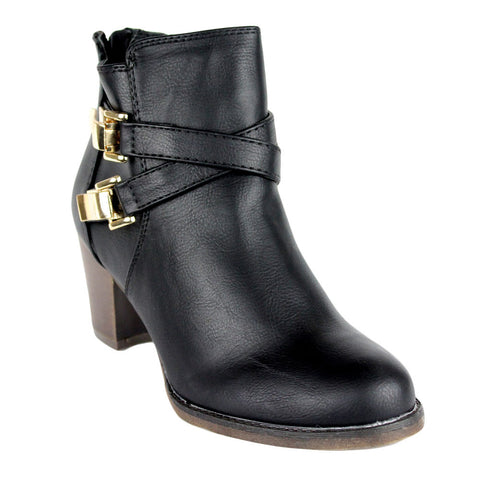 Womens Ankle Boots Strappy Buckle Accent Casual High Heel Shoes Black