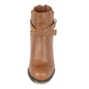 Womens Ankle Boots Strappy Buckle Accent Casual High Heel Shoes Tan