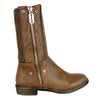 Womens Mid Calf Boots Fold Over Zipper Accent Knitted Boots Brown