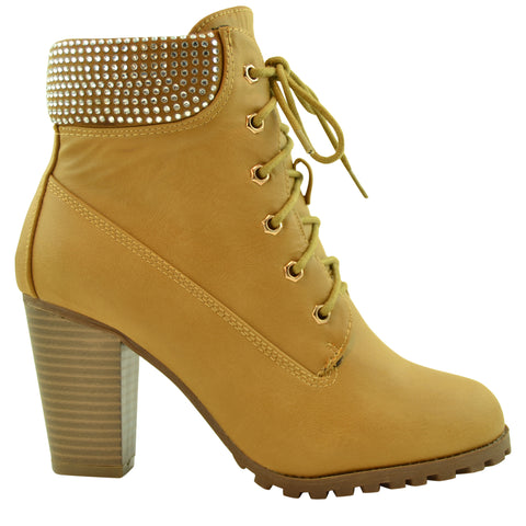 Tan Lace Up Boots With Heel