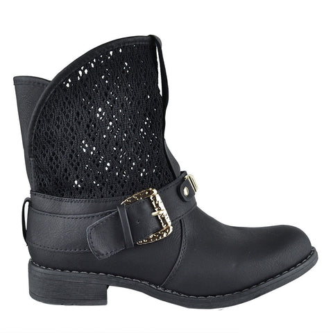 Womens Ankle Boots Faux Leather Rhinestone Crochet Western Shoes Black