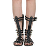 Womens Flat Sandals Mid Calf Multi-Strap Buckles Cage Gladiator Shoes Black