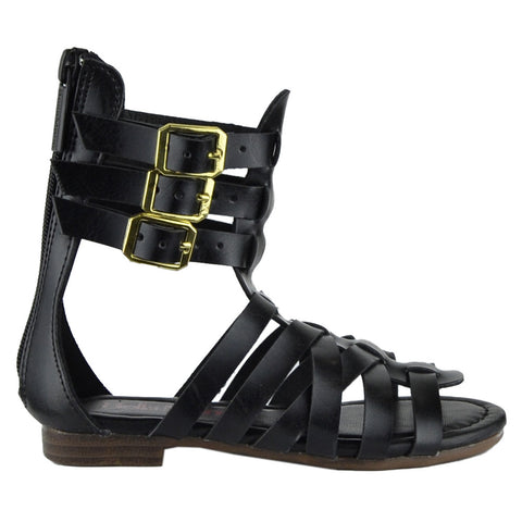 Kids Flat Sandals Girls Mid Calf Strappy Buckles Open Toe Gladiators Black
