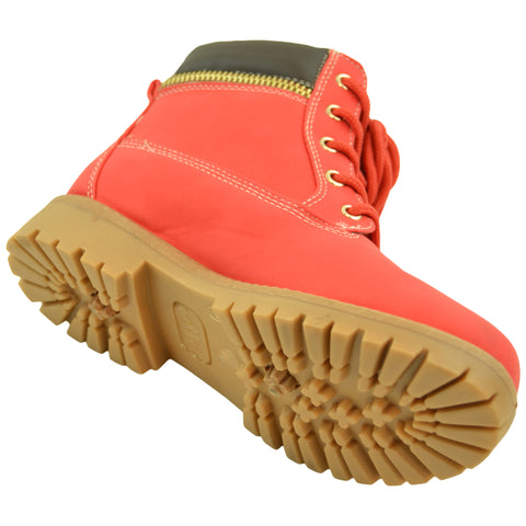 Kids Ankle Boots Faux Leather Lace Up Ankle Padded Hiking Shoes Red