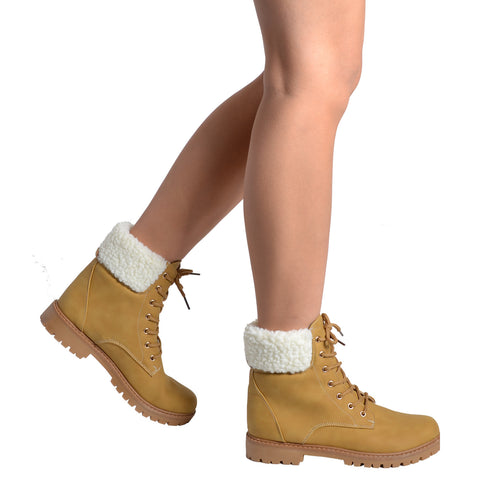 Womens Ankle Boots Fur Cuff Lace Up Faux Leather Hiking Shoes Tan