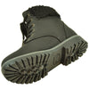 Kids Ankle Boots Fur Cuff Lace Up Faux Leather Hiking Shoes Black