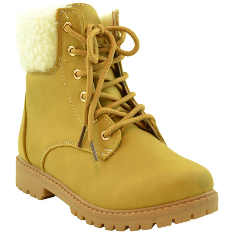 Kids Ankle Boots Fur Cuff Lace Up Faux Leather Hiking Shoes Camel