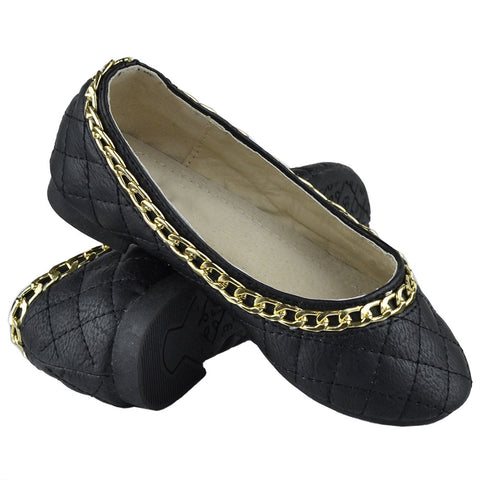 Kids Ballet Flats Quilted Gold Accent Chain Slip On Comfort Shoes Black