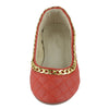 Kids Ballet Flats Quilted Gold Accent Chain Slip On Comfort Shoes Red