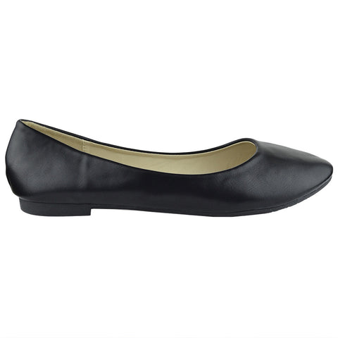 Womens Ballet Flats Pu Leather Basic Slip On Comfort Shoes Black