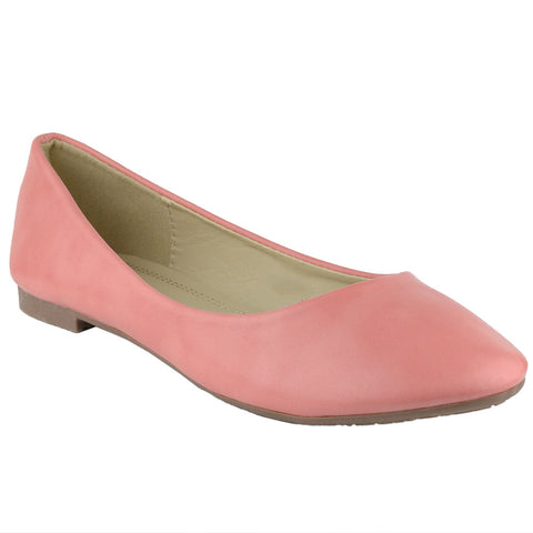 Womens Ballet Flats Pu Leather Basic Slip On Comfort Shoes Coral