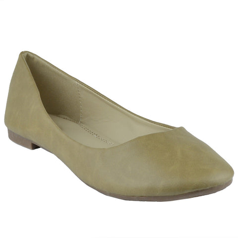 Womens Ballet Flats Pu Leather Basic Slip On Comfort Shoes Taupe