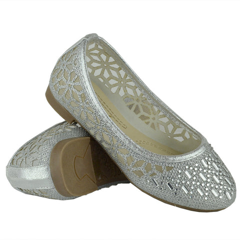 Kids Ballet Flats Lace Mesh Rhinestone Accent Casual Slip On Shoes Silver