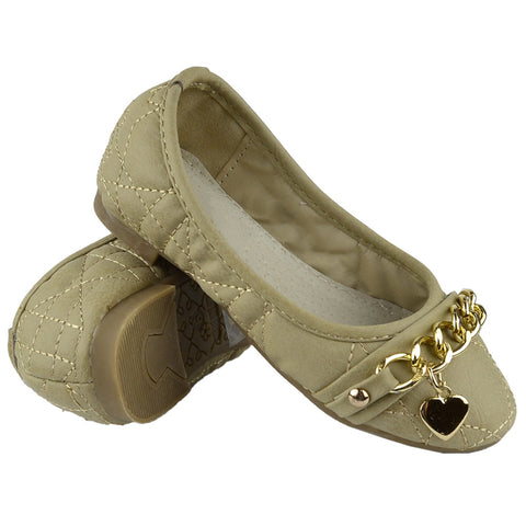 Kids Ballet Flats Quilted Gold Heart Accent Casual Slip On Shoes Beige