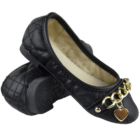 Kids Ballet Flats Quilted Gold Heart Accent Casual Slip On Shoes black