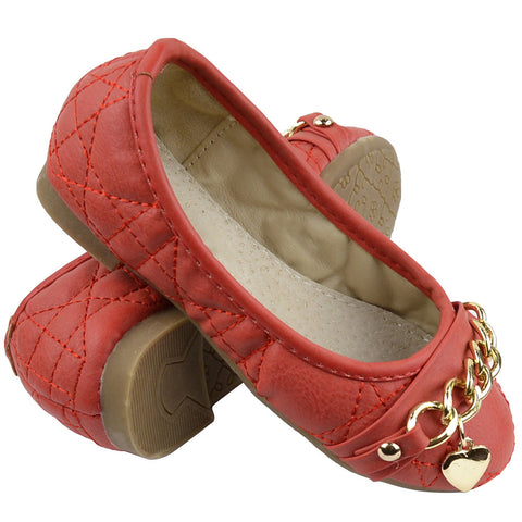 Kids Ballet Flats Quilted Gold Heart Accent Casual Slip On Shoes Red