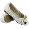 Kids Ballet Flats Quilted Gold Heart Accent Casual Slip On Shoes White