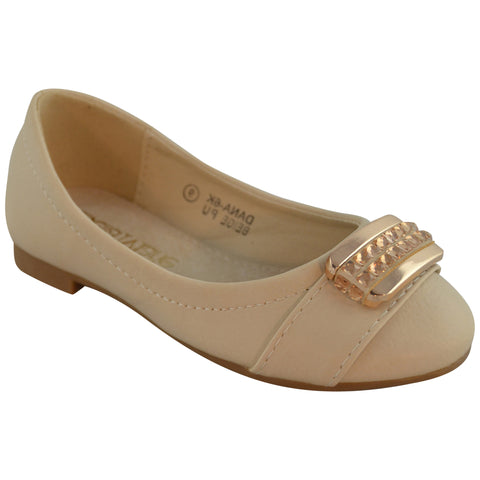Kids Ballet Flats Gold Plated Rhinestone Accent Casual Slip On Shoes Beige