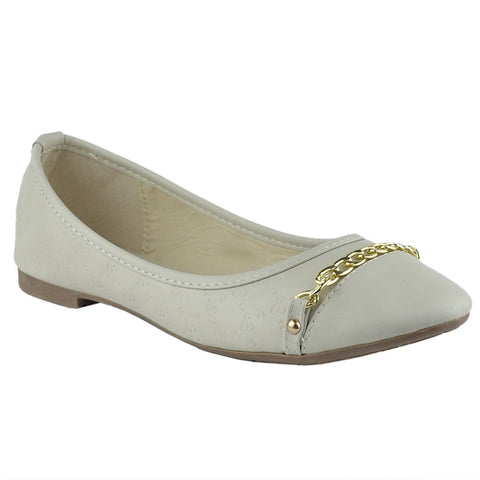 Womens Ballet Flats Front Chain Accent Casual Comfort  Slip On Beige