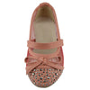 Kids Ballet Flats Studded Toe Cap Mesh Lace Casual Slip On Shoes Orange