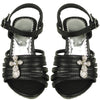 Kids Dress Sandals Strappy Rhinestones Cross Embellishment black