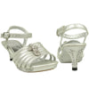 Kids Dress Sandals Strappy Rhinestones Cross Embellishment Silver