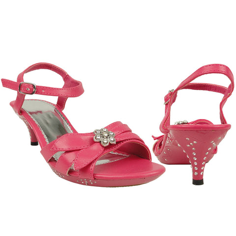 Kids Dress Sandals Vintage Style Flower Adjustable Ankle Strap Pink