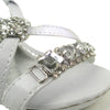 Kids Dress Sandals X-Strap Gemstones Rhinestone Embellishments White