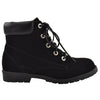Kids Ankle Boots Ankle Padded Hiking Comfort Lace Up Shoes black
