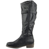 Womens Knee High Boots Rugged Zipper Accent Motorcycle Riding Shoes Black