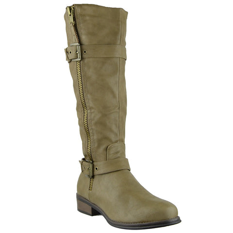 Womens Knee High Boots Rugged Zipper Accent Motorcycle Riding Shoes Taupe