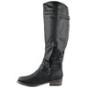 Womens Knee High Boots Back Zip Up Side Studded Casual Dress Shoes Black