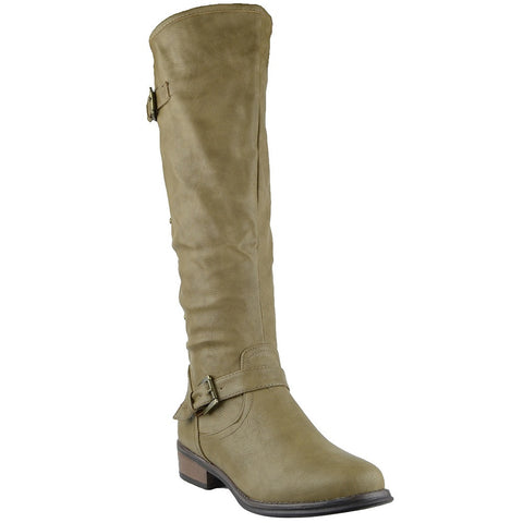 Womens Knee High Boots Back Zip Up Side Studded Casual Dress Shoes Taupe