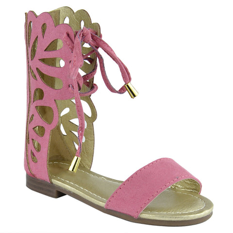 Girls Lace Up Gladiator Mid-Calf Flat Sandals Coral