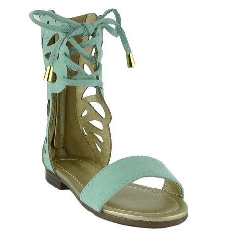 Girls Lace Up Gladiator Mid-Calf Flat Sandals Mint