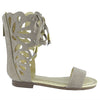 Kids Flat Sandals Mid Calf Cutout Gladiator Girls Lace Up Shoes Taupe
