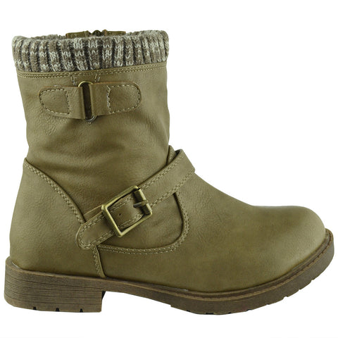 Kids Ankle Boots Knitted Cuff Buckle Accents Combat Shoes Beige