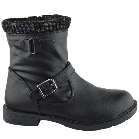 Kids Ankle Boots Knitted Cuff Buckle Accents Combat Shoes Black