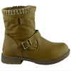 Kids Ankle Boots Knitted Cuff Buckle Accents Combat Shoes Tan