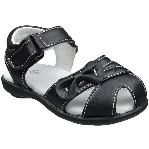 Toddler Flat Sandals Side Bow and Cutout Comfort Dress Shoes Black