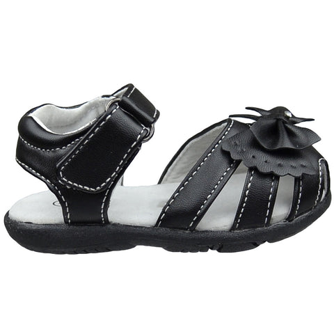 Toddler Flat Sandals Layered Cutout Bow Comfort Dress Shoes Black