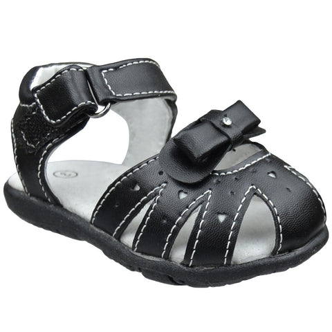 Toddler Flat Sandals Layered Front Bow Comfort Dress Shoes Black