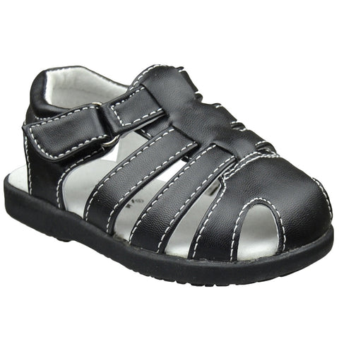 Toddler Flat Sandals Belted T Strap Casual Comfort Dress Shoes Black